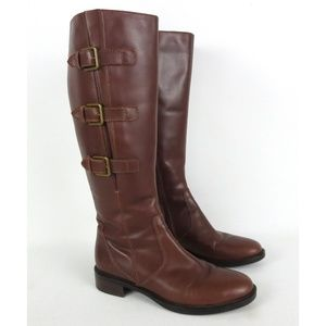 ECCO Sz 38 7-7.5 Hobart 25 Buckle Boot Knee Length